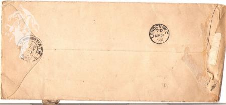 Photo of back of envelope to Emmeline Pethick