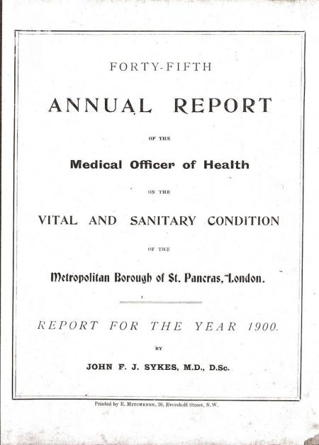 1900 Report on the sanitary conditions of the Metropolitan borough of St. Pancras, London