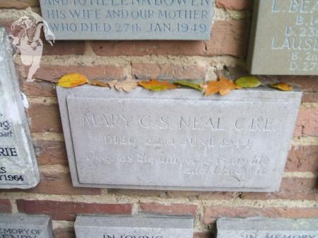 Mary Neal's plaque in Woking cemetery