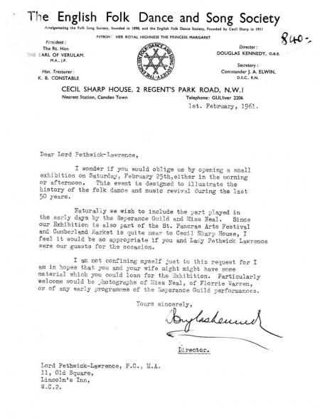 EFDSS letter to Fred Pethick-Lawrence