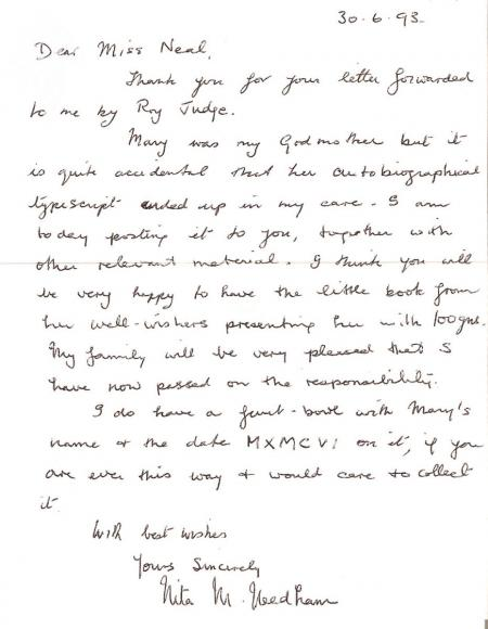 Nita Needham letter to Lucy Neal gifting Mary's papers
