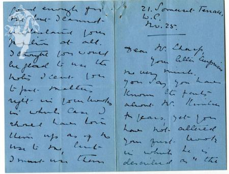 Letter to Cecil Sharp from Mary Neal