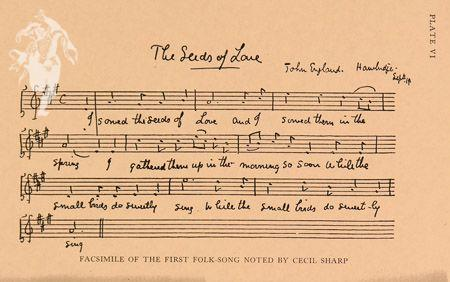 A handwritten copy of the 'Seeds of Love' song